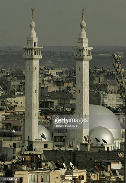 Picture taken 17 March 2006 shows a general view of the historic Syrian city of Aleppo, 350 kms north of Damascus, with its 12th-century Great Mosque...