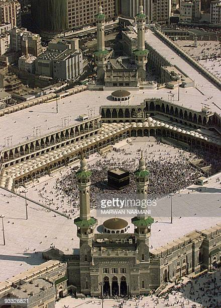 Picture taken 18 March 2000 shows an aerial view of the Haram mosque where the holy Kaaba in located in Mecca Tens of thousands of Muslim pilgrims...