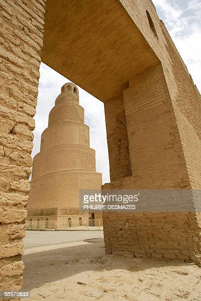 Picture taken 19 April 2003 shows the Spiral Minaret at the remains of the ancient city of Samarra along the eastern bank of the Tigris river between...