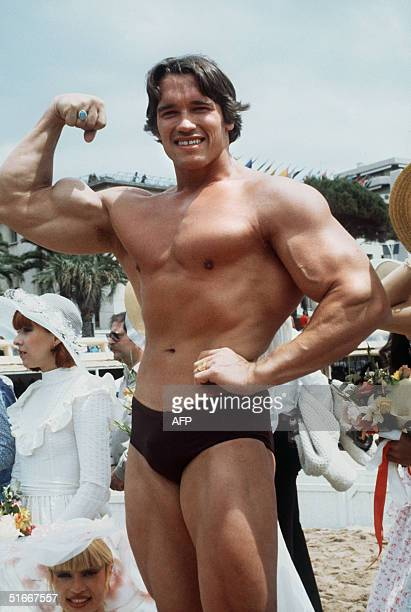 Picture taken 19th May 1977 of American actor Arnold Schwarzenegger during the 38th Cannes film festival. The actor presented Pumping Iron, a...