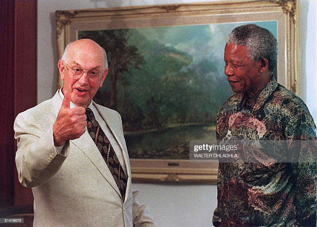 picture taken 21 November 95 of former South African president Pieter Botha at his house in Wilderness, during a meeting with President Nelson Mandela in Wilderness. Mandela phoned Botha 07 June to express his sympathy, a day after Botha's wife died of a heart attack, presidential aide Parks Mankahlana said.