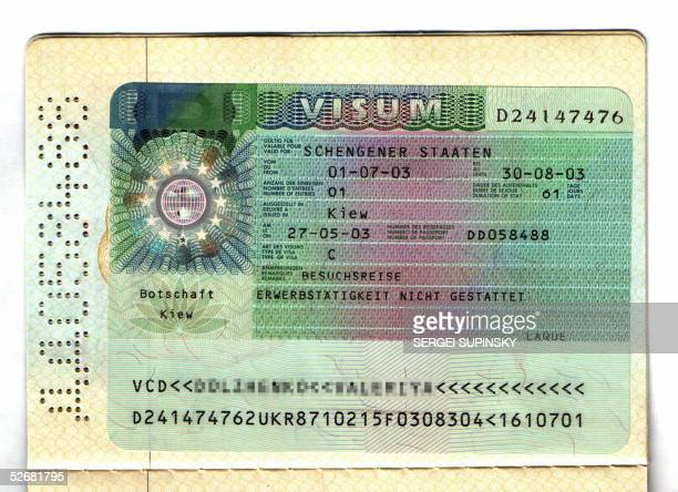 A picture taken 22 April 2005 of a Schengen visa granted to a female Ukranian by the German embassy in Kiev in May 2003 German Foreign Minister...