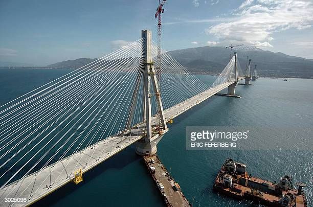 Picture taken 25 February 2004 of the Rion-Antirion cable-stayed bridge under construction, crossing the 3 kilometers Corinth Gulf strait. The...