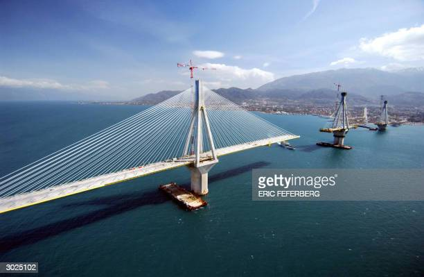 Picture taken 25 February 2004 of the RionAntirion cablestayed bridge under construction crossing the 3 kilometers Corinth Gulf strait The...