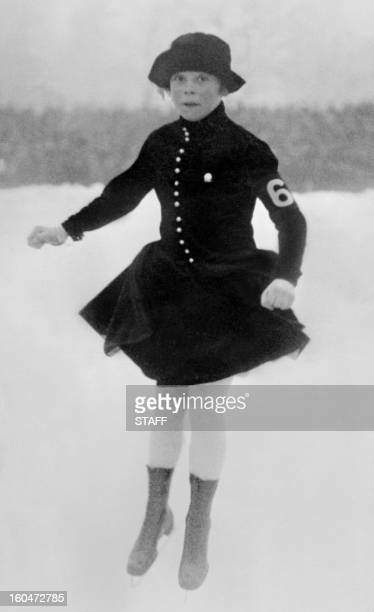 Picture taken 29 January 1924 in Chamonix of Norwegian figure skater Sonja Henie during the Winter Olympic Games in which she finished 8th Born in...