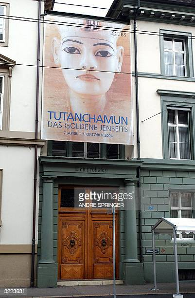Picture taken 29 March 2004 and released 06 April 2004 shows the entrance of the Tutankhamun exhbition in Basel, Switzerland. Precious ornaments and...