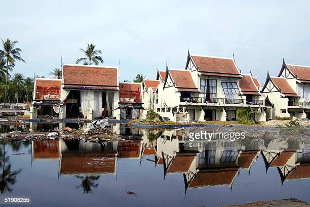 Picture taken 30 December 2004 shows the devastated Sofitel hotel along the Khao Lak Beach southeastern Thailand Five days after tusunami waves hit...