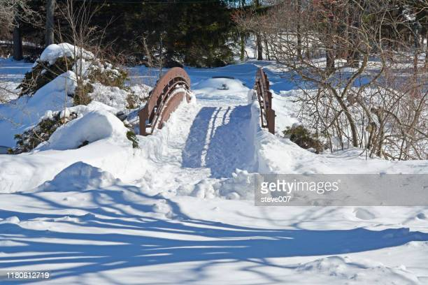 picture taken after several snowfalls fell during the week of february 9, 2014 at  wampus brook park in the town of north castle, new york. photo taken monday february 17, 2014. - westchester county stock pictures, royalty-free photos & images