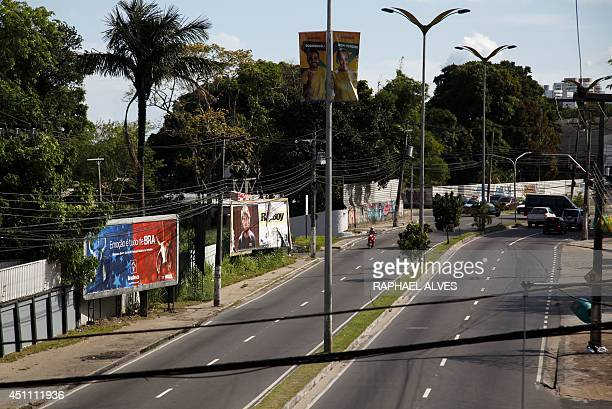 Picture taken at Andre Araujo Avenue one of the main streets of Manaus in the Brazilian state of Amazonas during the FIFA World Cup football match...