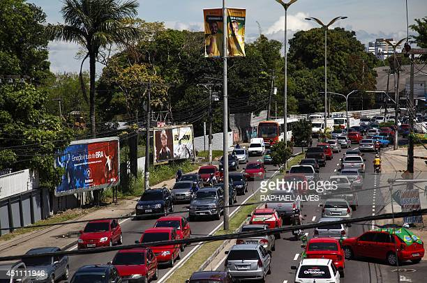 Picture taken at Andre Araujo Avenue one of the main streets of Manaus in the Brazilian state of Amazonas before the FIFA World Cup football match...