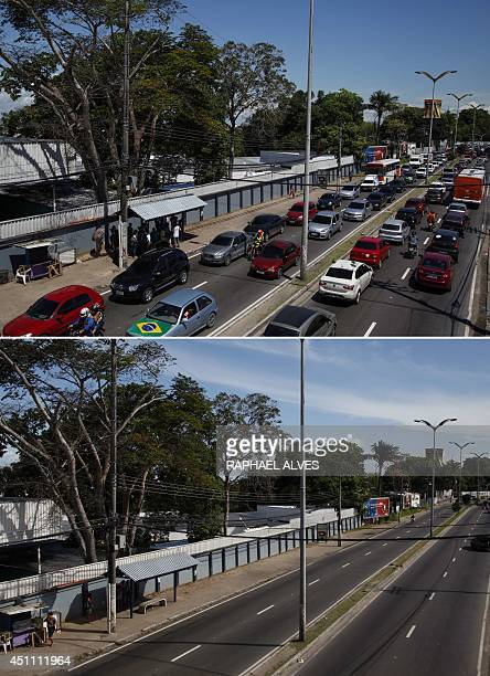 Picture taken at Andre Araujo Avenue one of the main streets of Manaus in the Brazilian state of Amazonas before and during the FIFA World Cup...