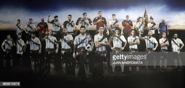 A picture taken at Argentina national football team's base camp in Bronnitsy south of Moscow on June 8 2018 shows a poster of the football players...