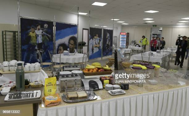 A picture taken at Argentina's base camp in Bronnitsy south of Moscow on June 8 2018 shows the dining room ahead of the Russia 2018 World Cup...