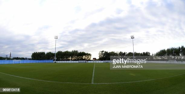 A picture taken at Argentina's base camp in Bronnitsy south of Moscow on June 8 2018 shows the training pitch ahead of the Russia 2018 World Cup...