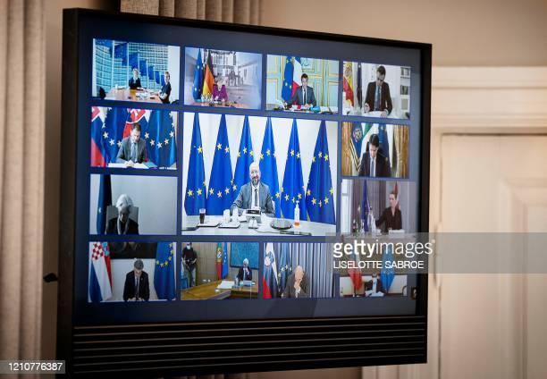 Picture taken at Denmark's Prime Minister Mette Frederiksen's domicil Marienborg in Kongens Lyngby, North of Copenhagen, Denmark shows the screen...