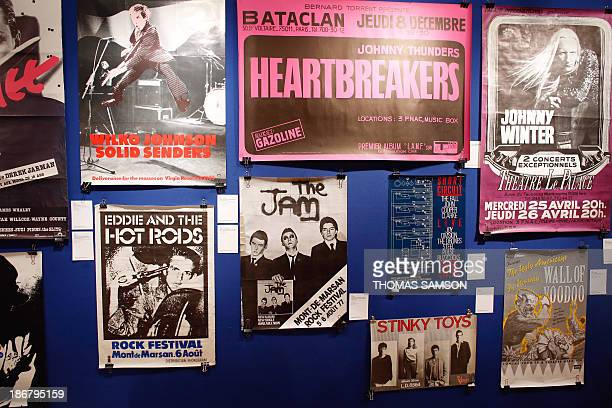 A picture taken at French auction house Artcurial in Paris on November 4 2013 shows concert posters A 'Rock'n'Roll' auction sale is scheduled to take...