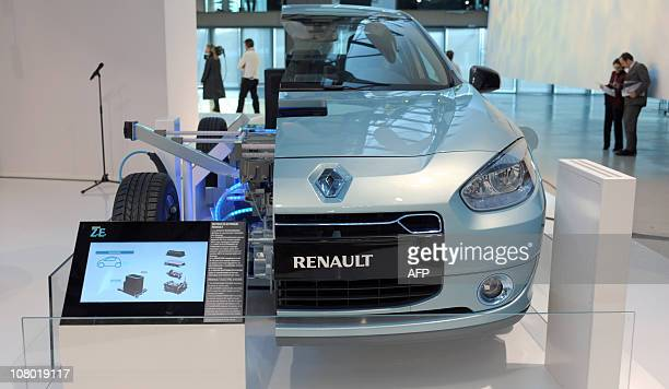Picture taken at Renault group communication headquarters in Boulogne Billancourt near Paris on January 10, 2011 shows an exhibition of an electric...