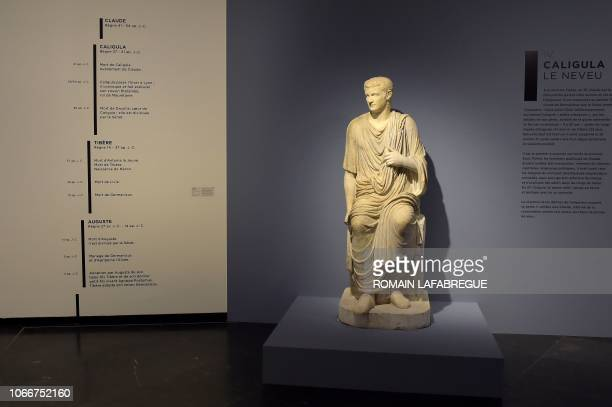 A picture taken at the BeauxArts Museum in Lyon centraleastern France on November 30 2018 shows a statue of the Roman Emperor Caligula Claude's...
