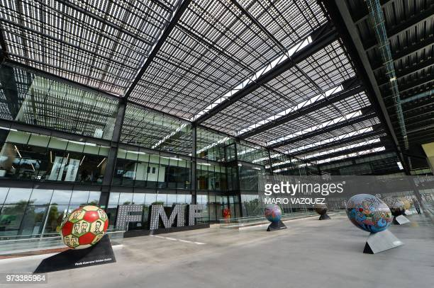 Picture taken at the headquarters of the Mexican Football Federation in Toluca Mexico on June 13 2018 day in which FIFA announced the United States...