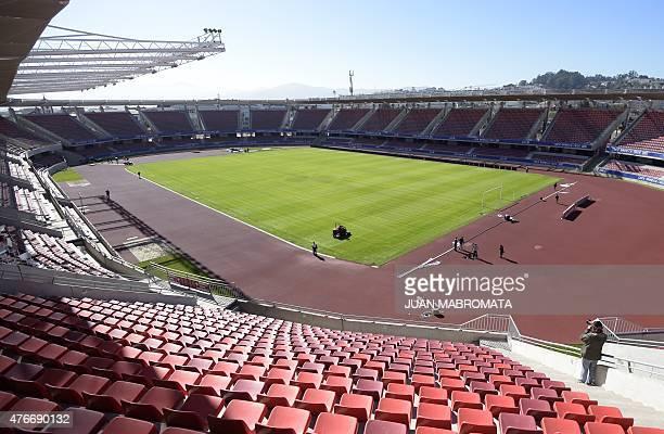 Picture taken at the La Portada stadium in La Serena Coquimbo Chile on June 11 2015 ahead of the Chile 2015 Copa America Group B football match...