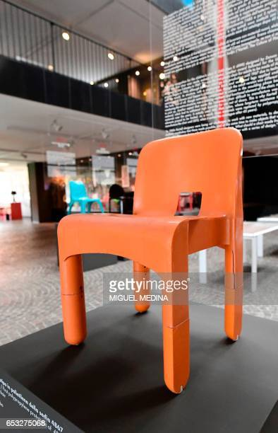 A picture taken at the museum of Italian contemporary furniture brand Kartell shows the first polypropylene prototype of 4867 universal chair done...