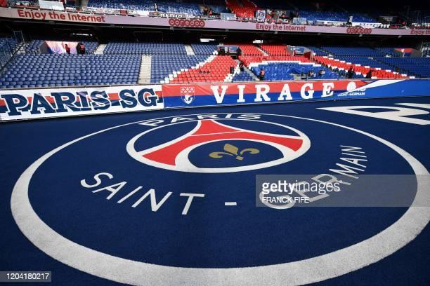 Picture taken at the Parc des Princes stadium in Paris, on February 29, 2020 shows the Paris Saint-Germain's logo before the Ligue 1 football match...