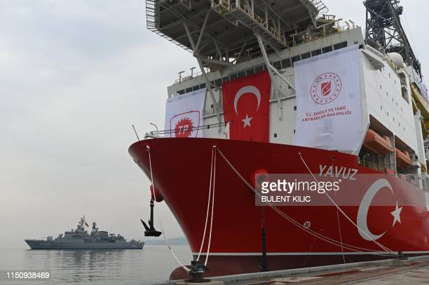 A picture taken at the port of Dilovasi outside Istanbul on June 20 2019 shows the drilling ship 'Yavuz' scheduled to search for oil and gas off...