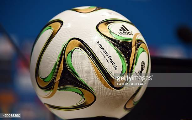 A picture taken at the Sao Januario Stadium in Rio de Janeiro on July 12 shows the official Brazuca ball which will be use the day after during the...