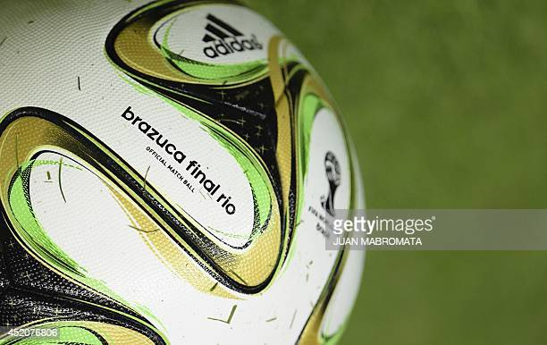A picture taken at the Sao Januario Stadium in Rio de Janeiro on July 12 shows the official Brazuca ball on the eve of the 2014 FIFA World Cup final...