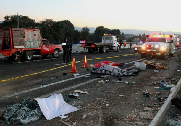 Picture taken at the scene of a road accident in Santa Rita ...