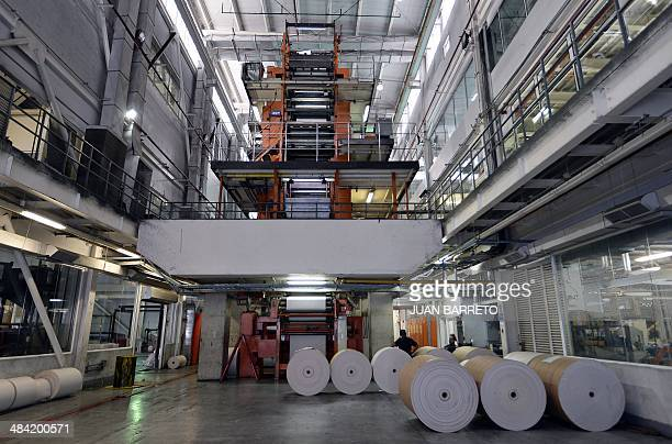 Picture taken at the Venezuelan newspaper El Nacional on April 11 in Caracas A shipment of newsprint rolls sent by Colombia's National Association of...