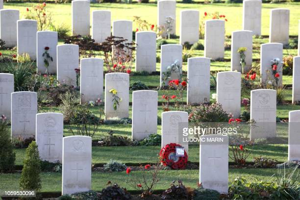 A picture taken at the World War I FrenchBritish memorial of Thiepval northern France on November 9 2018 shows graves during a ceremony marking the...
