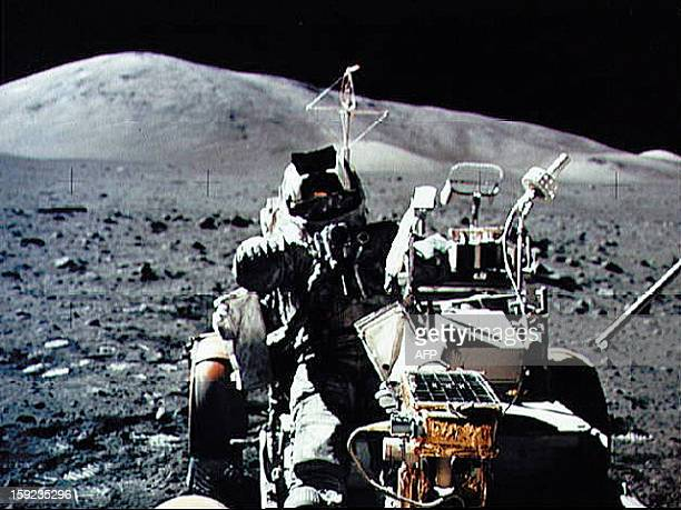 A NASA picture taken by US crew commander Eugene A Cernan on December 13 1972 shows astronaut and geologist Harrison H Schmitt seated in the Lunar...