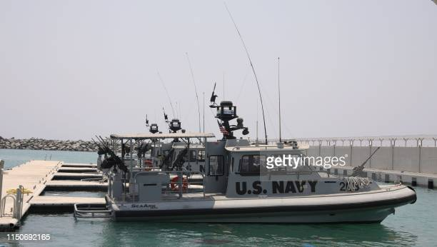 A picture taken during a guided tour by the US Navy on June 19 2019 shows a US Navy patrol boat docked at a UAE Naval facility near the port of the...
