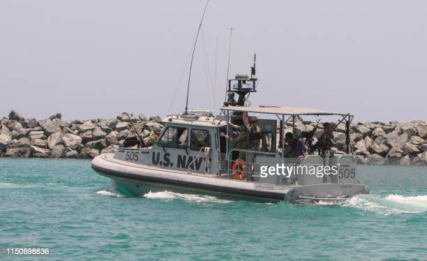 Picture taken during a guided tour by the US Navy on June 19, 2019 shows a US Navy patrol boat that took journalists on board at a UAE Naval facility...