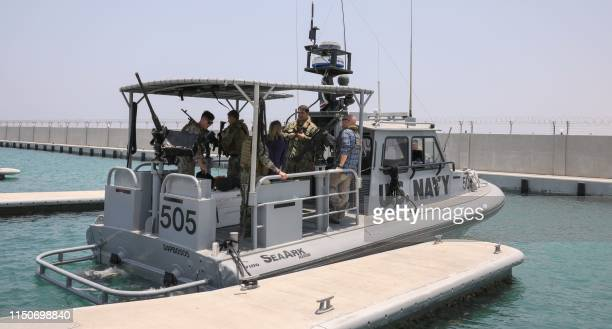 A picture taken during a guided tour by the US Navy on June 19 2019 shows a US Navy patrol boat that took journalists on board at a UAE Naval...