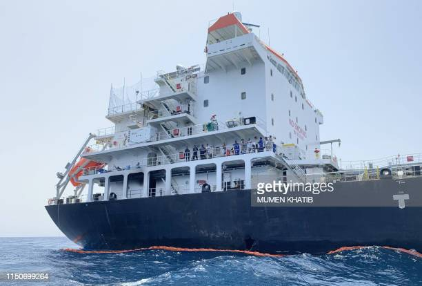 A picture taken during a guided tour by the US Navy shows the damage in the hull of the Japanese oil tanker Kokuka Courageous off the port of the...