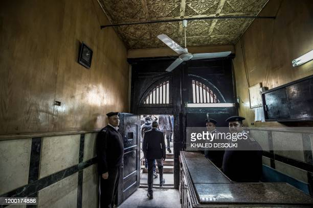 A picture taken during a guided tour organised by Egypt's State Information Service on February 11 shows Egyptian policemen at the entrance of the...