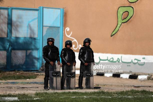 TOPSHOT A picture taken during a guided tour organised by the Egyptian State Information Service on November 20 shows policemen standing guard at...