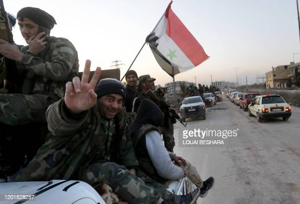 Picture taken during a guided tour organised by the Syrian Ministry of Information shows regime forces in the area of al-Lirmoun, north of Aleppo, on...