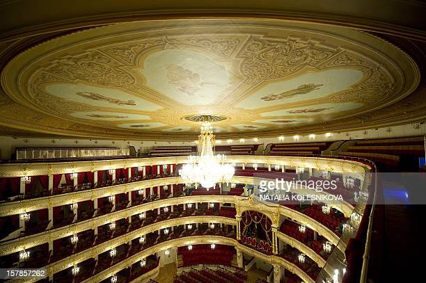A picture taken during a media tour shows the balconies in the Bolshoi Theatre in Moscow on October 8 2011 The restored Moscow landmark built in the...