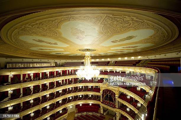 A picture taken during a media tour shows the stalls and balconies in the Bolshoi Theatre in Moscow on October 8 2011 The restored Moscow landmark...