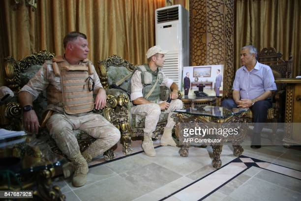 A picture taken during a press tour provided by the Russian Armed Forces on September 15 2017 shows the provincial governor of Deir Ezzor Mohamed...