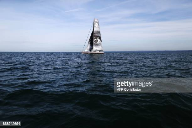 A picture taken during a training session off of the coast of Le Havre northwestern France on October 31 2017 shows the 'Vivo a Beira' monohull Imoca...