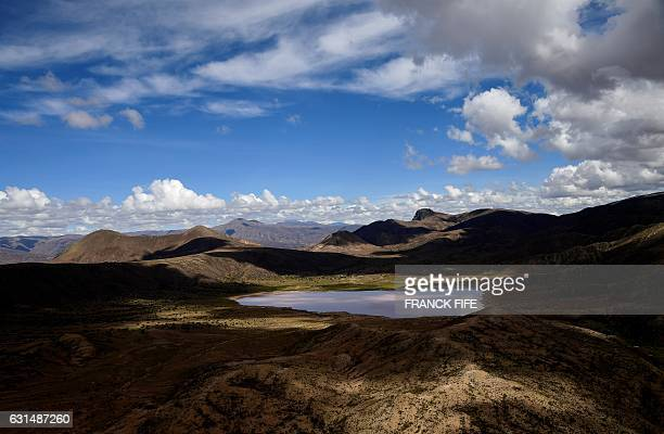 Picture taken during Stage 8 of the 2017 Dakar Rally between Uyuni in Bolivia and Salta in Argentina on January 10 2017 A massive mudslide in...