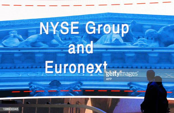 Picture taken during the first listing of the NYSE Euronext Group in Paris 04 April 2007 The vast transatlantic stock market emerged last 27 March...