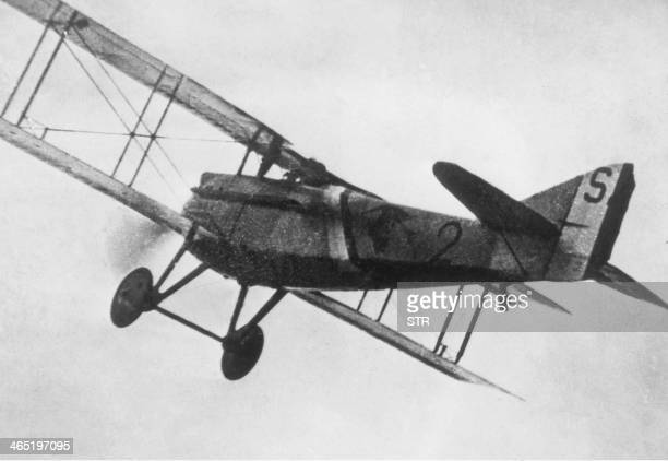 Picture taken during World War I of French pilot-captain and World War I hero Georges Guynemer's Spad II plane. Georges Guynemer, who achieved 53...