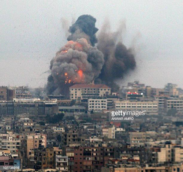 Picture taken early 04 August 2006 shows an Israeli air strike explosion on the southern suburbs of Beirut a stronghold of Hezbollah Israeli...
