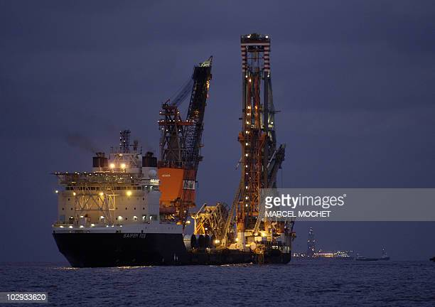 Picture taken end of December 2007 showing an oil platform of the Italian Saipaem company situated off Angola AFP PHOTO MARCEL MOCHET