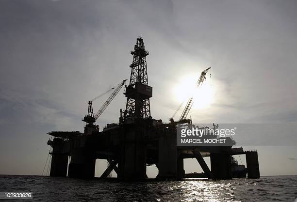 Picture taken end of December 2007 showing an oil platform of the US Pride company situated off Angola AFP PHOTO MARCEL MOCHET